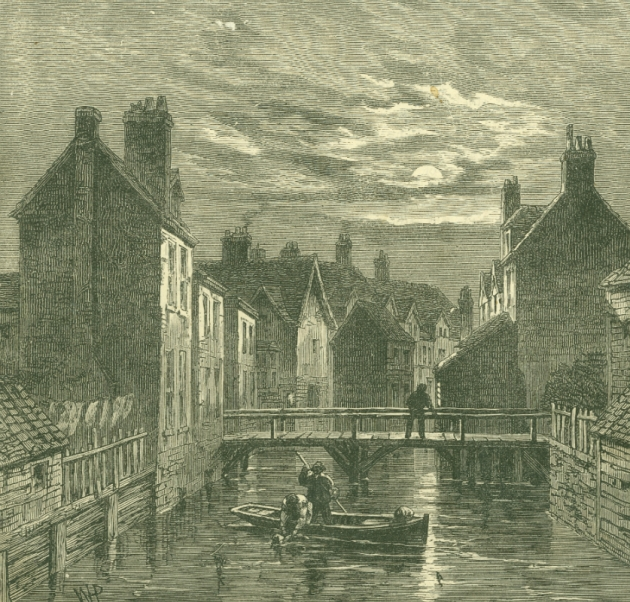 Engraving published in a newspaper depicting the area known as Folly Ditch, Jacob's Island about 1860