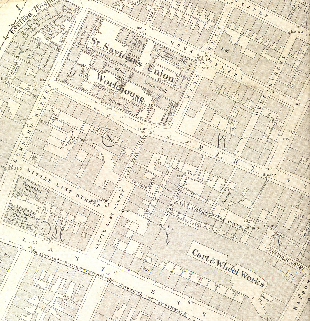 Map of St Saviour's Union Workhouse, Mint Street. 1872