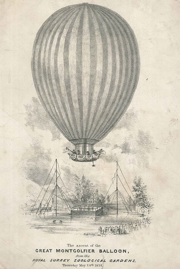 Great Montgolfier Balloon ascent. Surrey Zoological Gardens. 1838.
