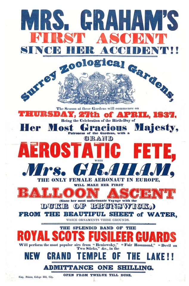 Mrs Graham's balloon ascent. Surrey Zoological Gardens. 1837.
