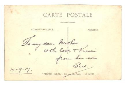 Postcard from Sidney Cox to his mother, 1917