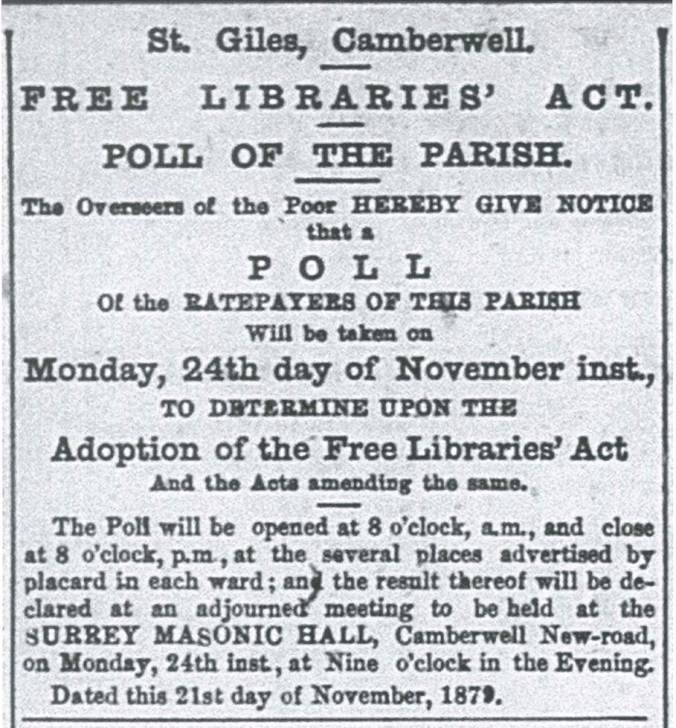 Free Libraries Act poll sign, Camberwell