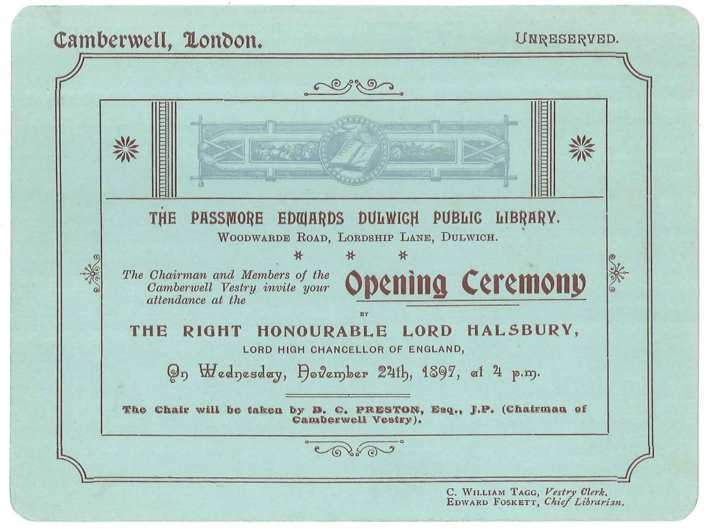 Dulwich opening ceremony invitation 24 Nov 1897