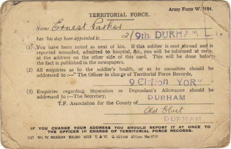 Ernest Parker's Territorial Force identification card
