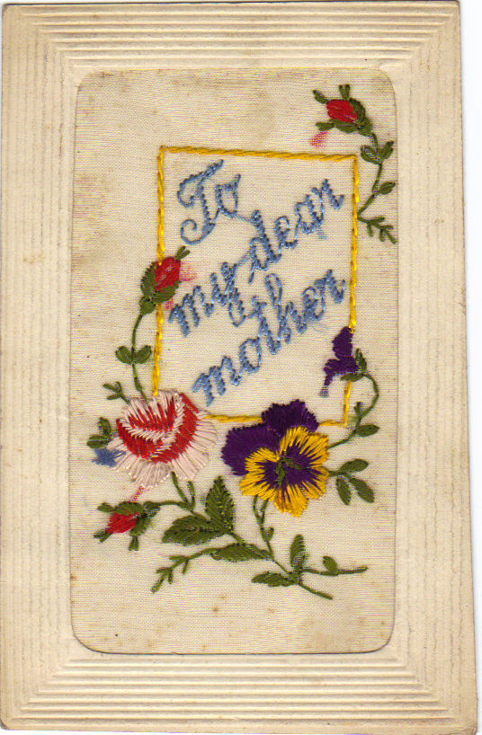 "Embroidered Chrismas Card ""To my der mother"""