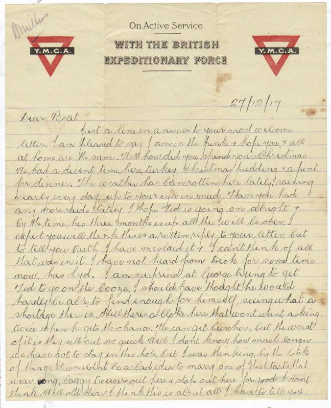 Letter to Beatrice 27 December 1917