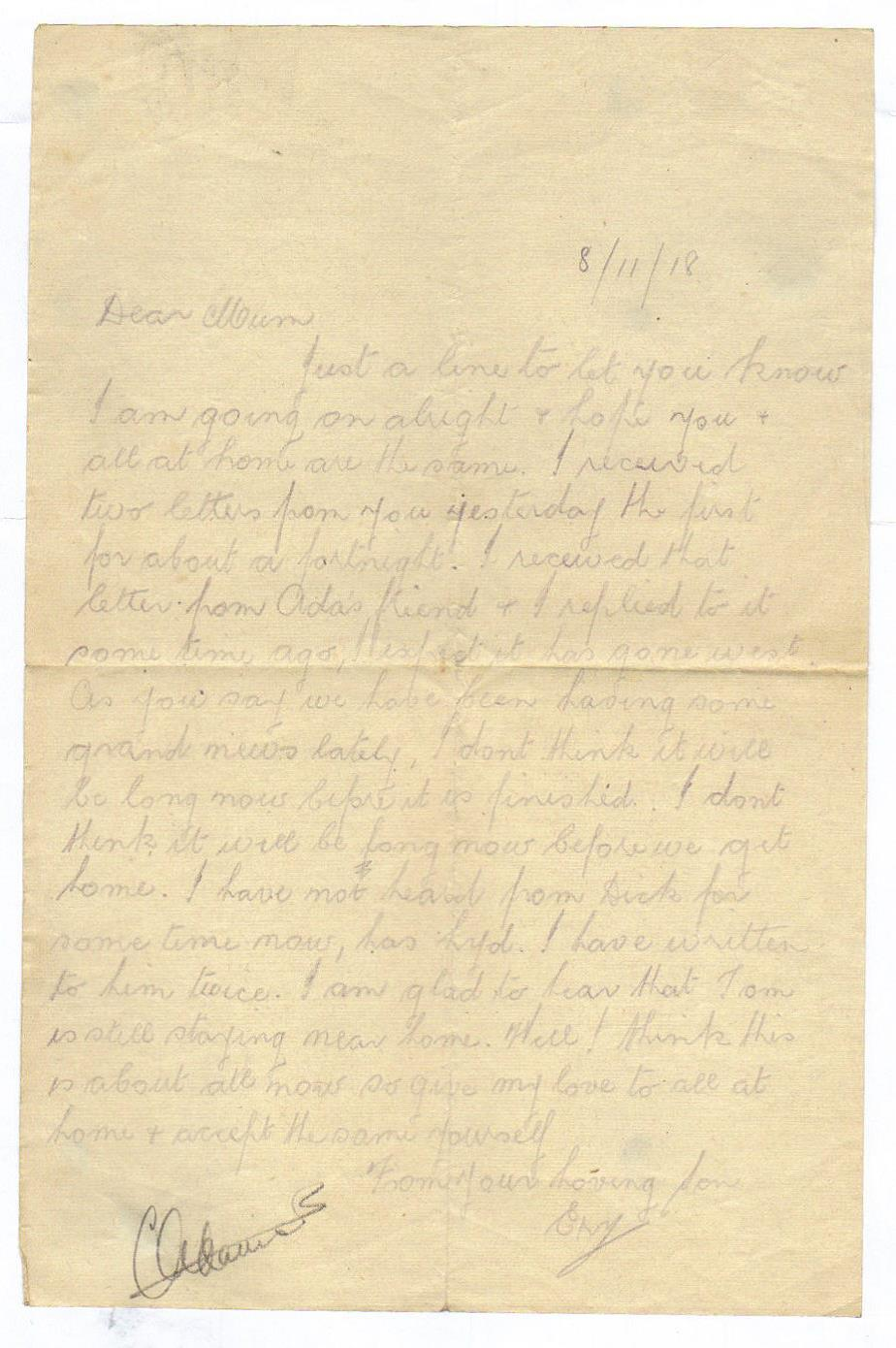 Letter from Ernerst to his mother 8 November 1918
