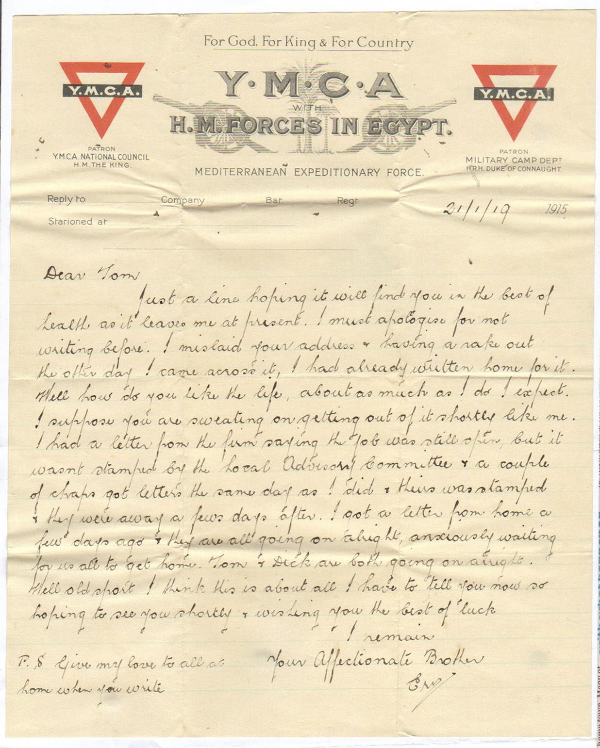 Letter to Tom, 21 January 1919
