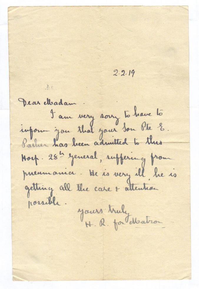 Letter 2 February 1919 from Milieary Hospital in Salonika