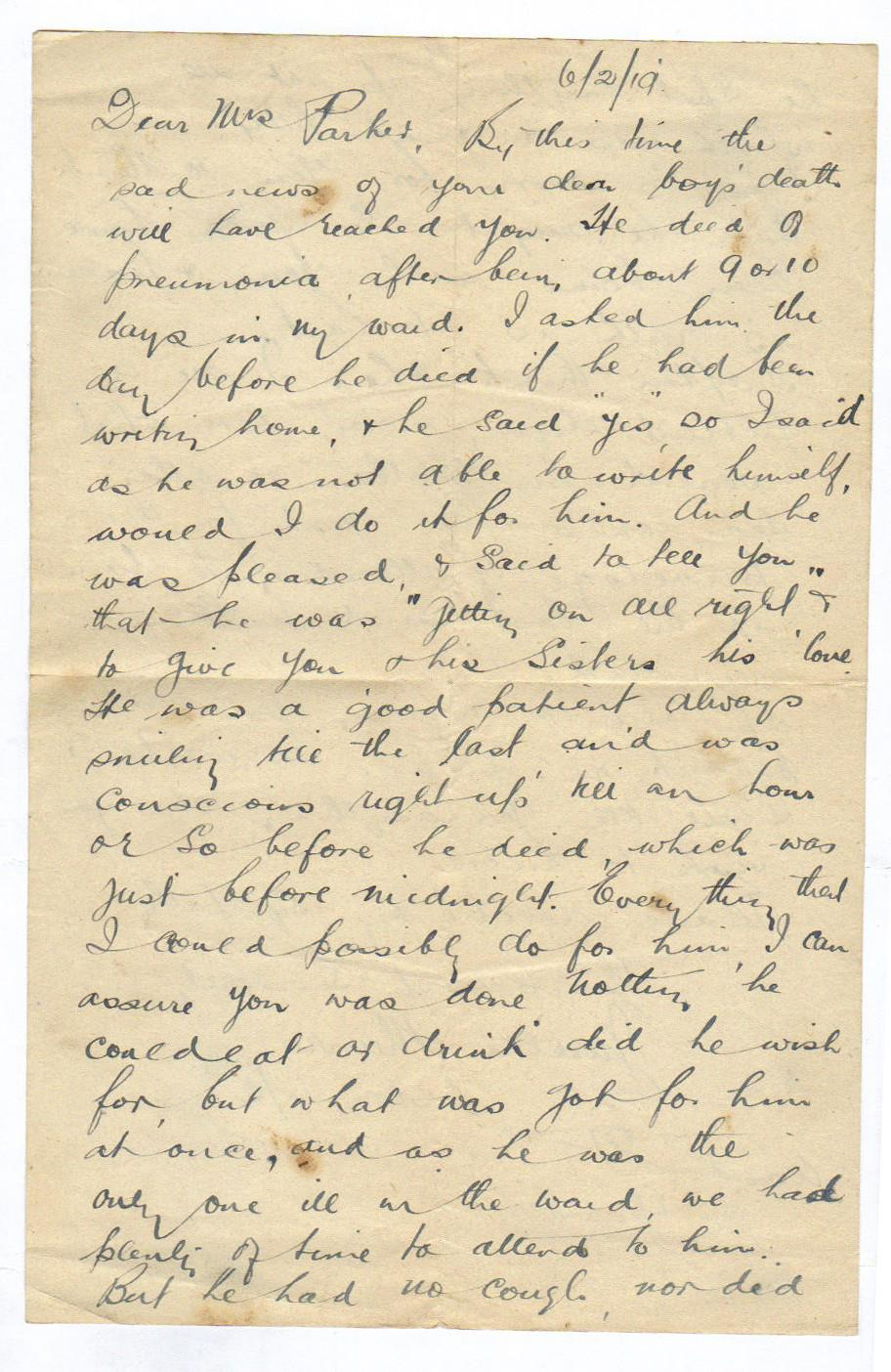 Letter from the hospital's Sister-in-Charge 2 February 1919