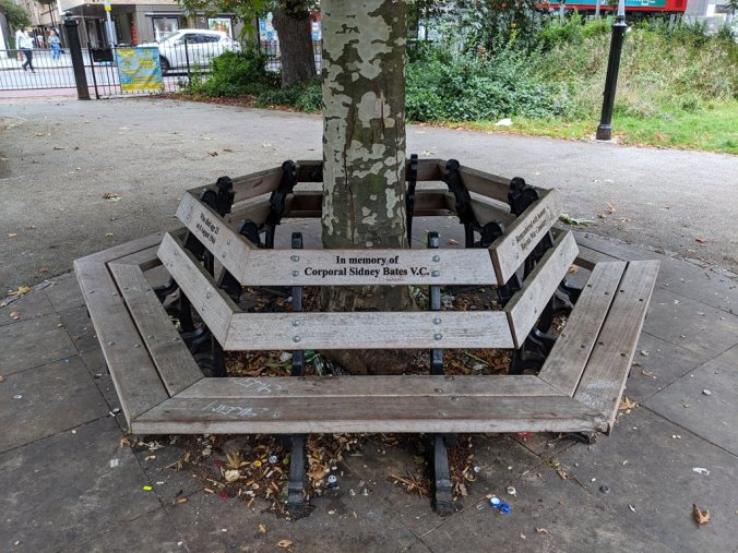 The memorial bench on Camberwell Green. Copyright Bernhard Bauer