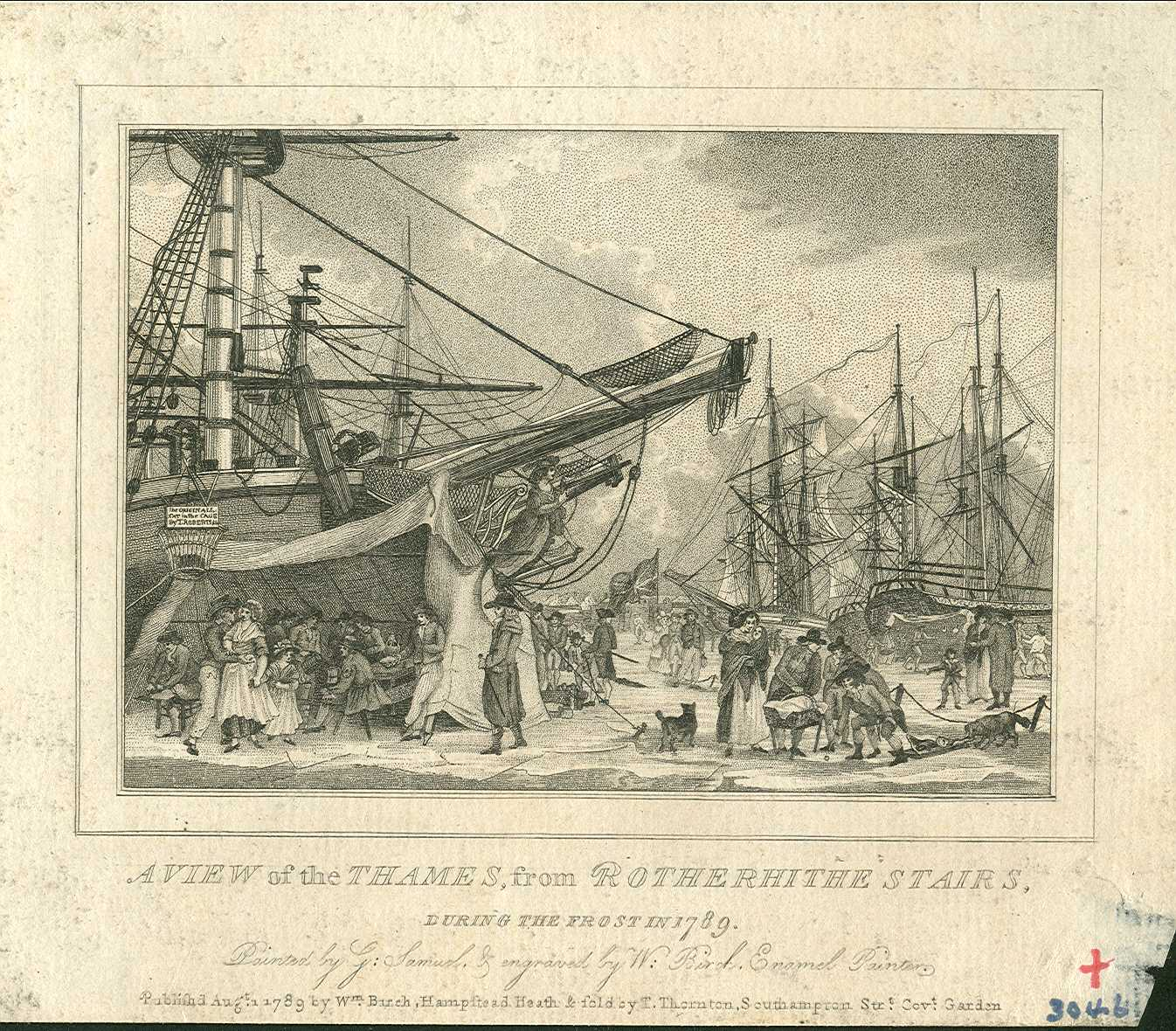 A view of the Thames from Rotherhithe Stairs January 1789 by G. Samuel